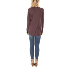 Load image into Gallery viewer, V Neck Pleated Long Sleeve Plain T-Shirts