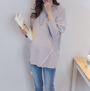 Maternity Long Sleeve Round Neck Stripes Top