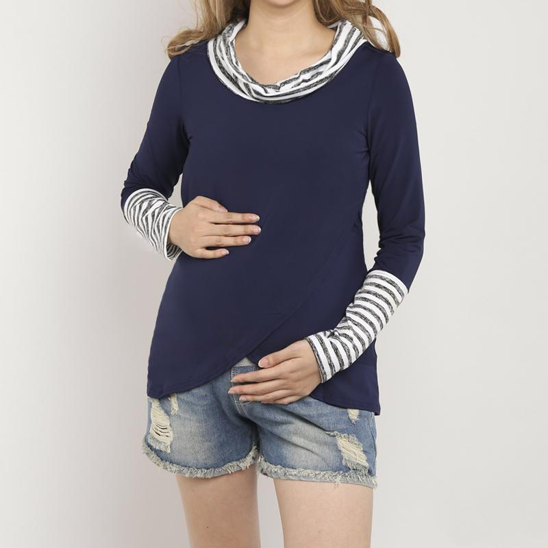 Materniyt Asymmetric Hem Contrast Trim Striped T-Shirts