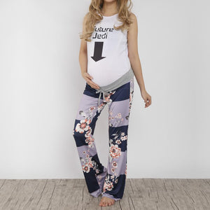 Maternity High Waist Frenulum Broad Leg Trousers