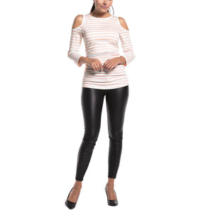 Maternity Round Neck  Round Neck Stripes  Long Sleeve Tee