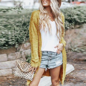 Plain Long Sleeve Pocket Fashion Cardigans