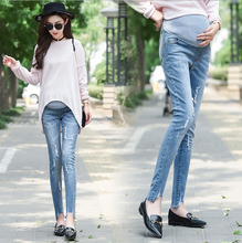 Load image into Gallery viewer, Women Pregnancy Winter Warm Jeans Pants Nursing Trousers