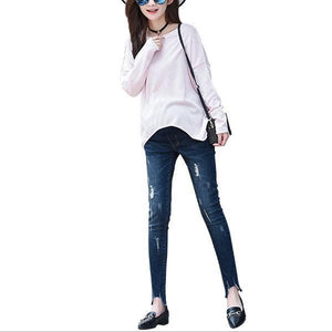 Women Pregnancy Winter Warm Jeans Pants Nursing Trousers