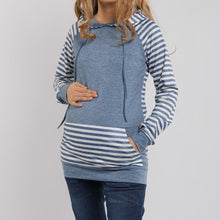 Load image into Gallery viewer, Maternity Kangaroo Pocket  Patchwork Striped Hoodie