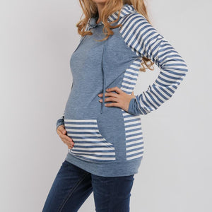 Maternity Kangaroo Pocket  Patchwork Striped Hoodie