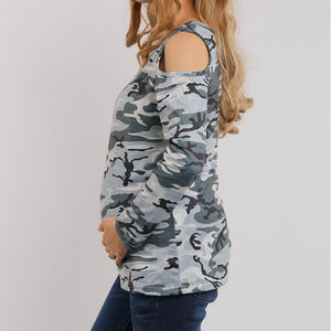 Maternity Open Shoulder  Camouflage T-Shirt