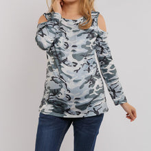 Load image into Gallery viewer, Maternity Open Shoulder  Camouflage T-Shirt