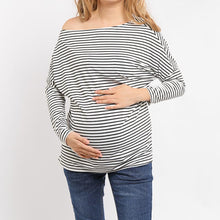 Load image into Gallery viewer, Maternity Casual Striped Loose Bat Wing Sleeve Top