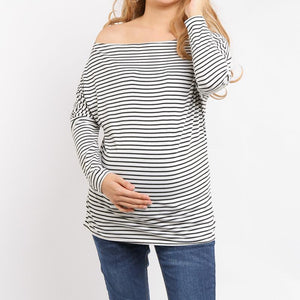 Maternity Casual Striped Loose Bat Wing Sleeve Top