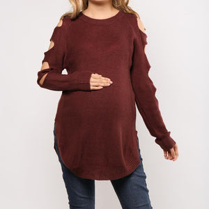 Maternity Solid Color Long Sleeve Knitted Hollow Sweater