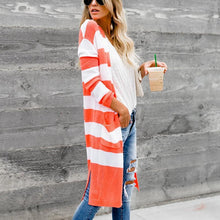 Load image into Gallery viewer, Stripe Color Collision Long Sleeves Cardigan