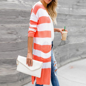 Stripe Color Collision Long Sleeves Cardigan