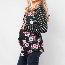Load image into Gallery viewer, Maternity Stripe Maternity Nursing T-Shirt