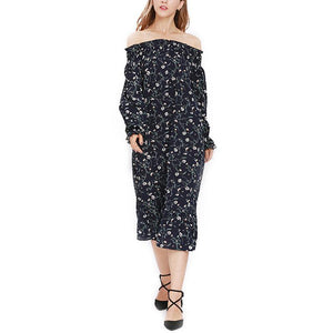 Maternity Off Shoulder Long Sleeve Floral Print Dress