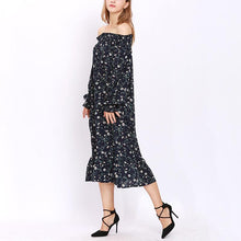 Load image into Gallery viewer, Maternity Off Shoulder Long Sleeve Floral Print Dress