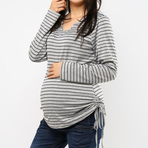 V-Neck Striped Long Sleeve T-Shirt Top