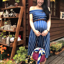 Load image into Gallery viewer, Maternity Stripe Off Shoulder Knee-Length Dress