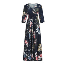Load image into Gallery viewer, Ethnic Style V Collar Floral Printed 3/4 Sleeves Vacation Dress