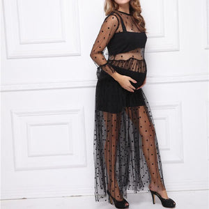 Maternity Mesh Fabric Lace Long Sleeve Black Dress