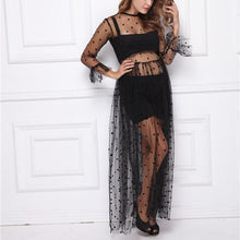 Load image into Gallery viewer, Maternity Mesh Fabric Lace Long Sleeve Black Dress