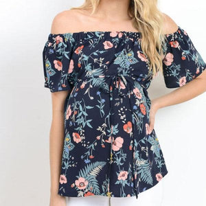 Maternity Off Shoulder Floral Tee Tops