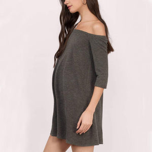 Maternity Solid Color Off Shoulder Half Sleeve Casual Dress