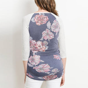 Maternity O-Neck Three-Quarter Sleeve Patchwork Printing T-Shirt