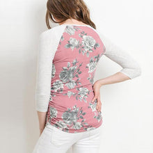 Load image into Gallery viewer, Maternity O-Neck Three-Quarter Sleeve Patchwork Printing T-Shirt