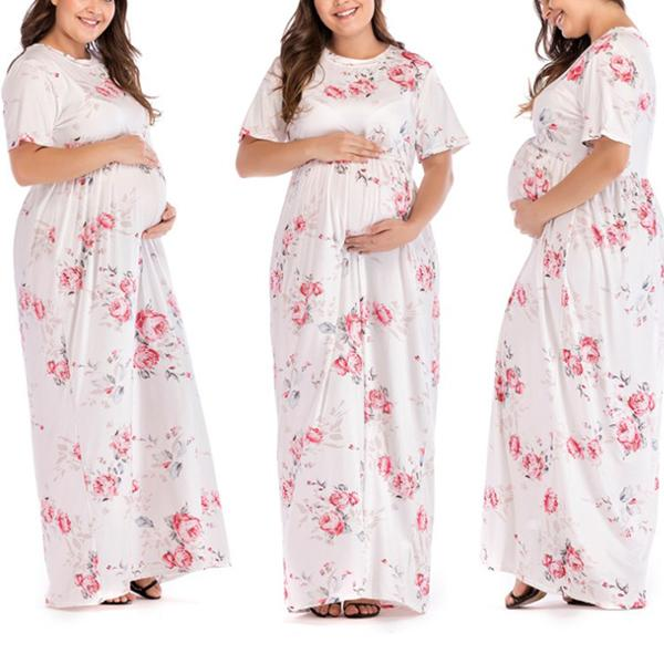 Maternity Dresses With Round Necklines And Wide Skirts