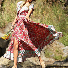 Load image into Gallery viewer, Bohemian Off-Shoulder Printed Colour Maxi Dresses