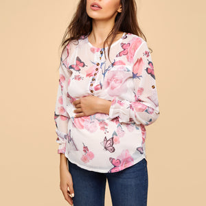 Maternity Square Neck  Decorative Button  Floral Printed Blouses