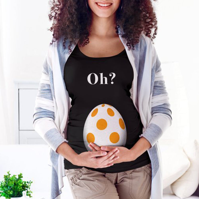 Maternity Plain Fashion Letter Printing Short Sleeve T-Shirt