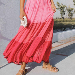 Maternity Bohemia Gradient Sling Strap Long Dress