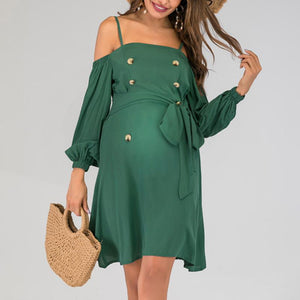 Maternity Plain Spaghetti Strap Lantern Sleeve Daily Dress