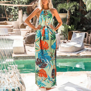 Maternity Printed Neck High Slit Maxi Dress