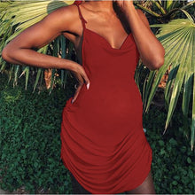 Load image into Gallery viewer, Maternity Plain Spaghetti Strap Draw String Dress