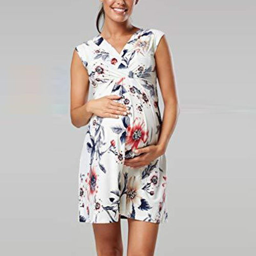 Maternity V-Neck Printing Casual Dress