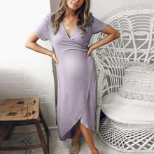 Load image into Gallery viewer, Maternity V-Neck Short Sleeve Asymmetric Daily Dress