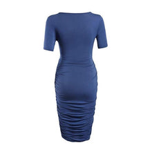 Load image into Gallery viewer, Maternity V-Neck Solid Color Bodycon Knee-Length Dress