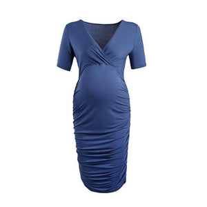 Maternity V-Neck Solid Color Bodycon Knee-Length Dress