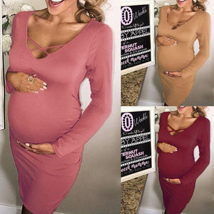 Maternity Solid Color Long Sleeve Bodycon Dress