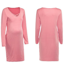 Load image into Gallery viewer, Maternity Solid Color Long Sleeve Bodycon Dress