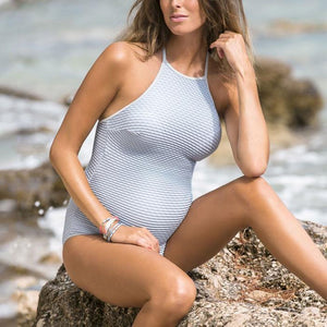 Maternity Halter Ribbed One Piece Swimsuit