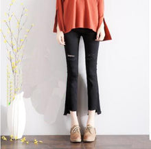 Load image into Gallery viewer, Spring New Korean Maternity Wear Black Ripped Denim Nine Point Pants