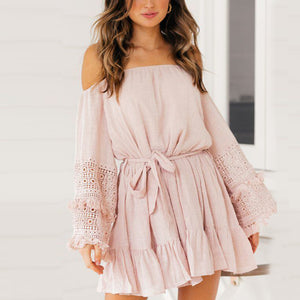 Maternity Flare Sleeve Off The Shoulder Mini Dress