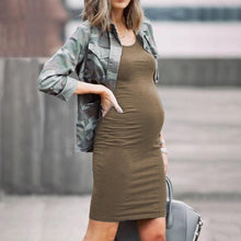 Load image into Gallery viewer, Maternity Round-Neck Sleeveless Slim Fit Dress