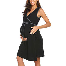 Load image into Gallery viewer, Maternity Color Block V Neck Sleeveless Pajamas Breast-Feeding
