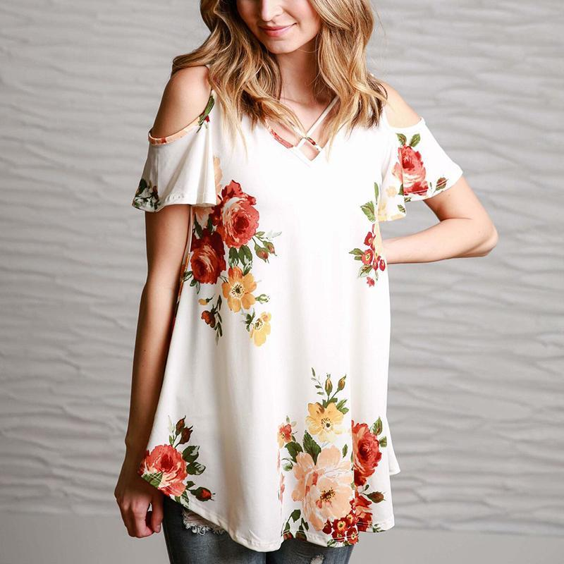 Maternity Printed V-Neck T-Shirt