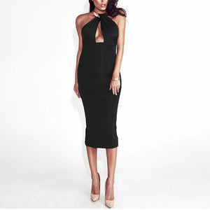 Maternity Solid Color Round Collar Sleeveless Midi Dress